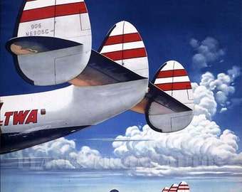 Vintage TWA Airline Poster advert 1952. Fly the Finest Fly Trans World Airlines. Instant Download - Printable Poster