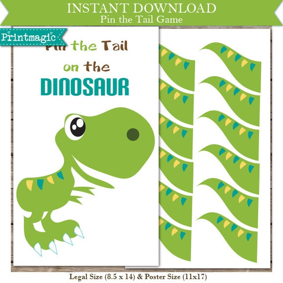 pin the tail on the dinosaur template - pin the tail on the dinosaur printable party game by