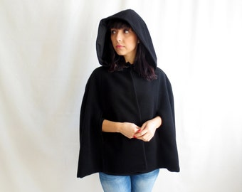 RESERVED for K. - Hooded cape, Black cape, black wool cape, fairy tale cape coat, black cape coat, cloaks and capes,hooded cloaks