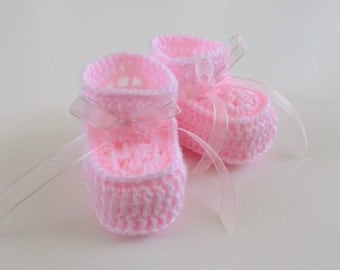 Crochet Pink Baby Booties with Sheer Pink Ribbon 0 to 3 Months Baby Girls
