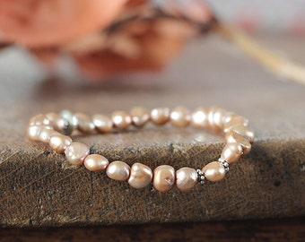 Freshwater Pearl Bracelet - Golden Beige Pearl Jewelry