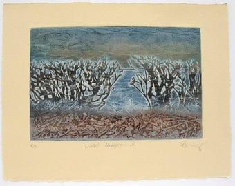 Winter Hedgerow collagraph print on cream cotton paper