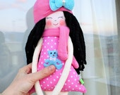 New '''' , Andrea , soft doll, handmade  rag doll, wearing  beret ,scarf and socks ,  ready to ship,stuffed doll
