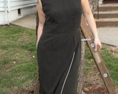 1970s Little Black Dress with Gold and White Detail- LBD