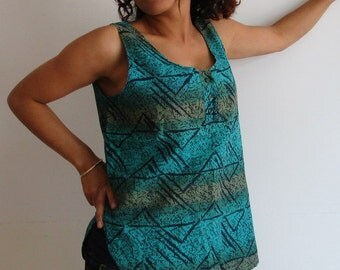 95s Cotton Asymmetric Cropped Blouse Batik Shirt,Green Top,Size - M-L