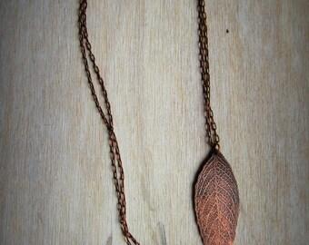 Etched Copper Leaf Necklace - Leaf Veins Pendant