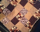 "A Scrappy Design of Camo, Polka Dots, Cheetah and More Blend Little Boy Perfect In This 27"" X 27"" Carseat/Stroller Quilt"