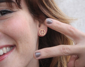 PEACE Studs, Gold Peace Earrings, Minimalsit Peace Sign posts, Peace Jewelry, Peace Symbol, Simple Studs, Everyday Earrings, Small Studs