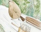 Sledding Beaver Illustration 5 x 7 Print. Winter Holiday Print