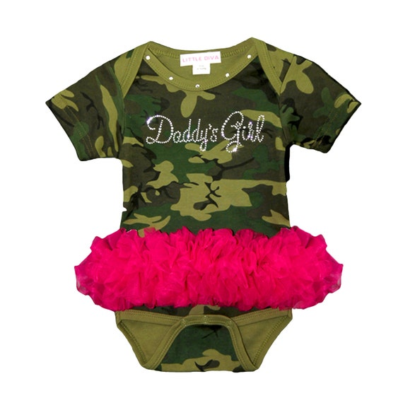 daddys gir camo bodysuit with hot pink tutu free shipping