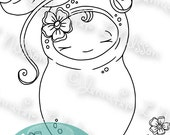Little SweetPea - digital stamp digistamp JPG PNG - Spring baby garden sprout line art for crafting