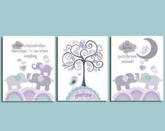 ELEPHANT NURSERY PRINT set, purple gray aqua, Baby girl nursery, girls decor, elephants bedding, lavender, 8x10 set of 3, Brooklyn, First we