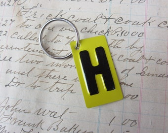 Vintage Metal Letter H Sign Name Initial H Keychain Letter Tag Industrial Sign Black & Yellow Metal Sign Key Chain Fob vtg Upcycled Key Tag