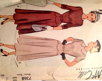 "Vintage 1948 McCall's Misses' Dress Pattern 7368 Size 16 (34"" Bust)"