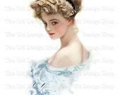 Harrison Fisher Vintage Art Blonde Lady in Blue Gown Digital Download JPG Image
