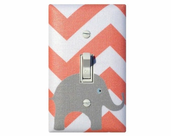 Elephant Switchplate / Coral and Gray Chevron Light Switch Plate / Salmon Pink Baby Nursery Decor / Slightly Smitten Kitten