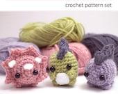 dinosaurs crochet pattern set - amigurumi pattern