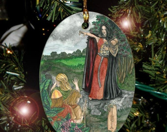 Elder Tree featuring Macha,  Celtic Tree Ogham Voice of the Trees Ornament