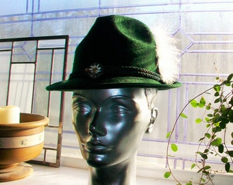 Green Wool Alpine Hat Germany Sport with White Feather