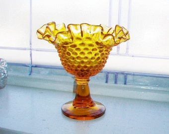 Vintage Fenton Amber Glass Hobnail Pedestal Dish Compote with Ruffled Edge 1960s