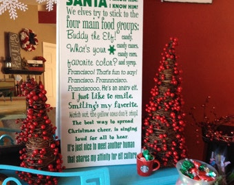 Christmas Wood Sign- Elf-Buddy the Elf Sayings Subway Art -Wood Sign