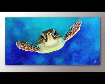 Sea Turtle Painting Print | Sea Turtle Art | Sea Turtle Decor | Sea Life Wall Art | Sea Animals | Green Sea Turtle Print | Turtle Wall Art
