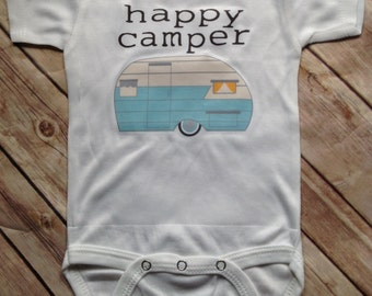 Happy Camper Baby One Piece or Shirt (Custom Text Colors/Wording)