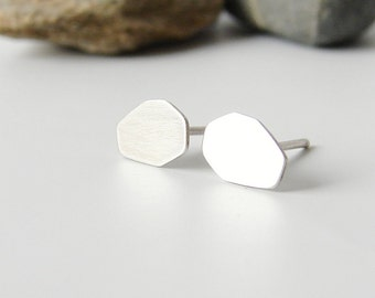Sterling silver stud earrings. Geometric minimalist studs.
