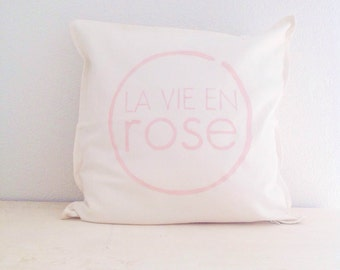 La vie en rose - French nursery decor. Modern minimalist design. Hand painted cotton cover. Black and white monochrome