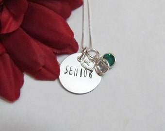 SENIOR- School Necklace -Everyday Simple Necklace -  Birthstones and Heart charm  -Back to school gifts -Gift Box included