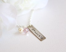 Aunt Gift Hand Stamped Personalized Auntie Necklace Keepsake, Pregnancy Announcement Aunt to Be, Gift from Niece Nephew- FREE Gift Packaging