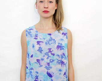Vintage Blue Watercolor Floral Sleeveless Blouse Semi Sheer Boxy Tank Top