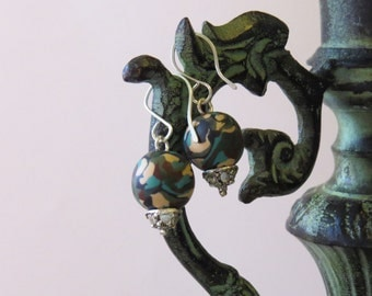 Camouflage sterling silver earrings , Nature, handmade Jewelry, dangle earrings,  clay earrings.