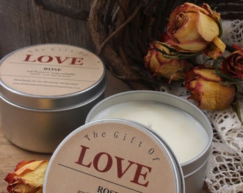 The Gift of LOVE soy tin candle valentines day gift wedding shower favors wedding gift bags rose candle montana made candles montana wedding