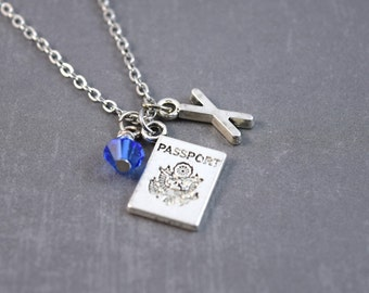 Passport Necklace - Travel Jewelry -Travel Necklace - Personalized Initial Jewelry - Birthstone Necklace - Travel Pendant - Passport Charm