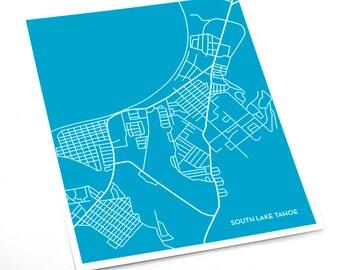 South Lake Tahoe City Map Art Print / California Print Map Poster / 8x10 Wall Art / Choose your color
