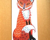 Fox greetings card (tall) fox blank card