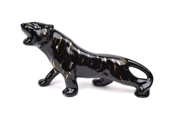 1950s ceramic black panther figurine with by independencevintage - Ceramic black panther statue ...