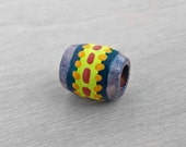 Small Dreadlock Bead Tribal Hair Bead - Wood Hand Painted Small Wooden Dread Bead - 5mm hole