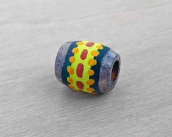 Small Dreadlock Bead Tribal Hair Bead - Wood Hand Painted Small Wooden Dread Bead - 5mm hole