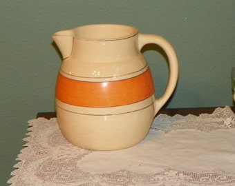 Vintage Roseville Pottery Juvenile Child PITCHER Utilitarian Old orange Utility Cream ware