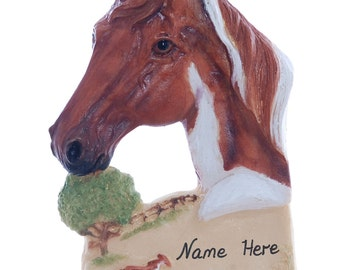 Personalized Horse Christmas ornament - sorrel chestnut paint horse ornament personalized with name of your choice (h114)