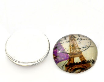 5 Cabochons 16mm  - Eiffel Tower Pattern -  Ships IMMEDIATELY from California - C264