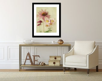 Pink Photography, Living Room Decor, Flower Picture, Vertical Photograph, Large Wall Art, Shabby Chic Artwork