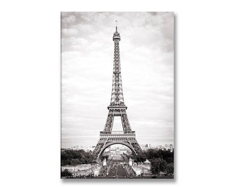 Paris Photography on Canvas - Eiffel Tower Black and White,  Gallery Wrapped Canvas, Large Wall Art, Architectural, Urban Home Decor