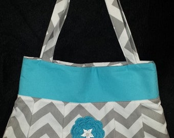 Grey chevron and teal purse