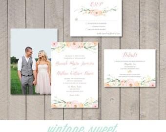 Vintage Floral Wedding Invitation, RSVP, Information Card (Printable) by Vintage Sweet