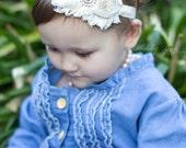 Ivory Cream Shabby Flower Headband Baby Headband Birthday Photo Prop Pink Birthday Hair Children Kids Flower