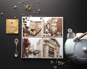 Quebec photo coasters  - set of 4, ceramic tile coasters, architecture, canada, sepia, castle, neutral tones , fpoe IN STOCK