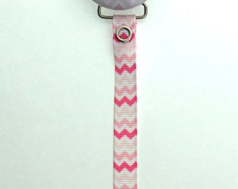 Personalized Name Pink Chevron  Pacifier Clip (PER50) (MSRP 19.00)